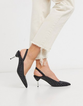 ASOS DESIGN Sascha slingback studded kitten heels in black
