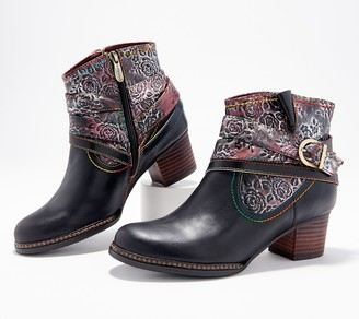Spring Step L'Artiste by Leather Ankle Boots- Shazzam-Rose