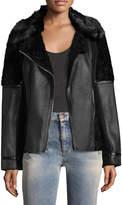 Vince Camuto Women's Asymmetrical Faux Fur-Trimmed Leatherette Jacket
