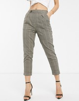 Stradivarius elasticated waist pants in check