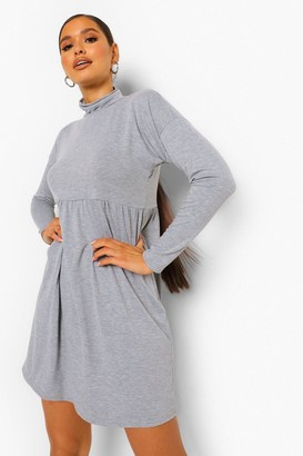 boohoo Long Sleeve High Neck Smock Dress