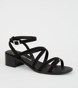 New Look Wide Fit Suedette Open Toe Strappy Low Heel Sandals