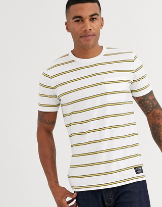 Abercrombie & Fitch icon logo stripe t-shirt in white