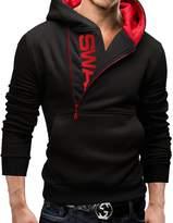 Pishon Men's Pullover Hoodies Side Half Zip Letter Print Warm Hooded Sweatshirts