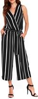Wallis Women's Stripe Faux Wrap Crop Jumpsuit