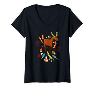 Scandinavian Womens Retro Art I Happy Autumn Moose V-Neck T-Shirt