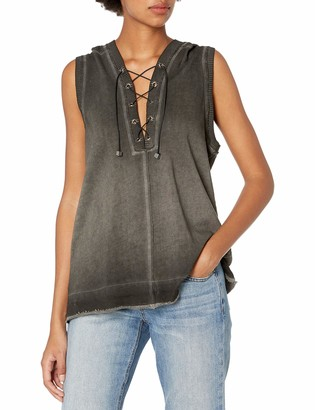 525 America Women's Spray Dye Sweatshirt Lace up Sleeveless Hoodie
