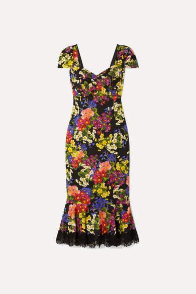Dolce & Gabbana Lace-trimmed Floral-print Silk-blend Crepe Dress - Black