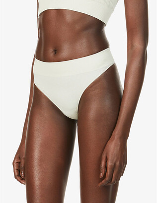 SKIMS Ladies Cream Stretch Rib Thong, Size: XXS/XS