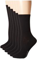Lauren Ralph Lauren Ribbed Trouser 6-Pack Women's Crew Cut Socks Shoes