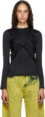 Marques Almeida Black Layered Knot T-Shirt