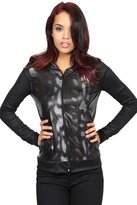 TheMogan Women's Animal Print Metallic Zip Up Hooded Jacket S