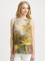 RED Valentino Cotton/Silk Tropical-Print Blouse