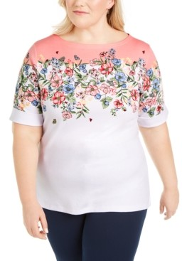 Karen Scott Plus Size Boat-Neck Elbow-Sleeve Top, Created for Macy's