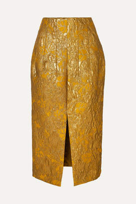 Brock Collection Metallic Brocade Midi Skirt - Gold
