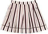 Marni Junior Striped Cotton Poplin Pleate Skirt