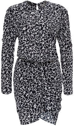 Etoile Isabel Marant Selwin Hugh Neck Long Sleeves Printed Mini Dress