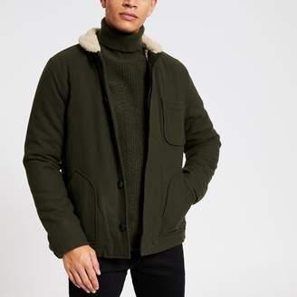 Bellfield Mens River Island Khaki borg collar jacket