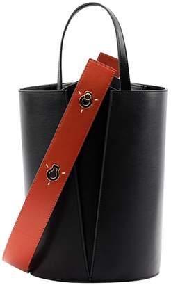 Danse Lente Mini Lorna Bucket Bag in Black Orange Leather