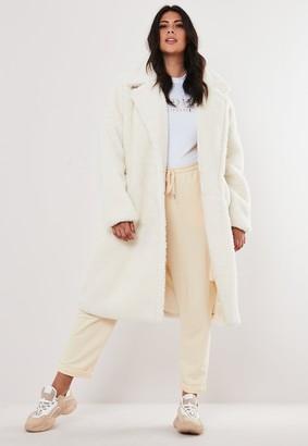 Missguided Plus Size White Borg Long Coat