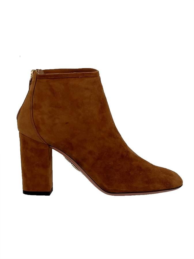 Aquazzura Cognac Suede Ankle Boots