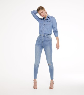 New Look Tall Ripped High Waist Super Skinny Jeans