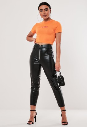 Missguided Petite Faux Leather Zip Detail Leggings