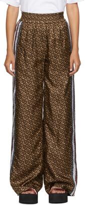 Burberry Brown Silk Seighford Monogram Trousers