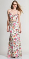 Dave and Johnny Classy Floral Print Sweetheart Two Piece Prom Dress