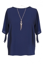 Quiz Curve Navy Crepe Necklace Top