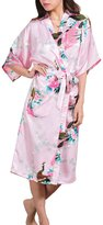 AMOMA Women's Plus Size Satin Peacock Design Kimono Robe Long Sleepwear S~2XL (XXX-Large, )