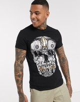 Religion t-shirt with gold skull and money print in black