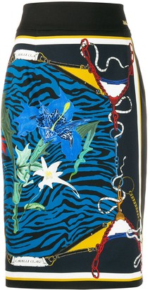 Class Roberto Cavalli Mixed-Print Pencil Skirt