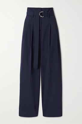 La Ligne Belted Woven Tapered Pants - Navy