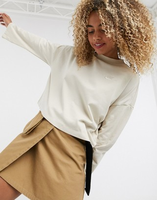 Nike premium jersey 3/4 sleeve top in oatmeal