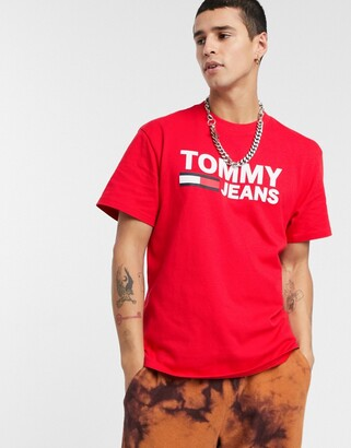 Tommy Jeans classics chest flag logo t-shirt in red