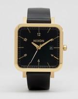Nixon Ragnar 36 Square Leather Watch In Black