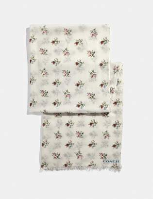 Coach Allover Cross Stitch Floral Print Oblong Scarf