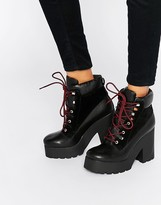 Eeight EEight Lace Up Platform Heeled Ankle Boots