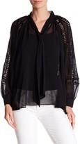 Gracia Split Neck Crochet Sleeve Blouse