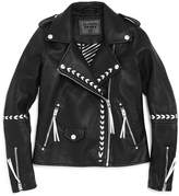 Blank NYC Blanknyc Girls' Faux-Leather Moto Jacket with Contrast Stitching Details