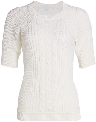 Max Mara Austero Short-Sleeve Cable-Knit Sweater