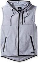 Southpole Men's Tech Fleece Basic Hooded Sleeveless Full Zip Vest
