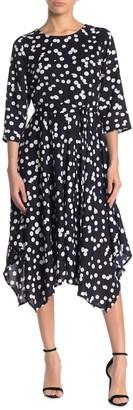 T Tahari Polka Dot Tie Belted Dress