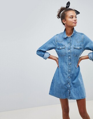 ASOS DESIGN denim fitted western shirt dress with seam detail in midwash blue