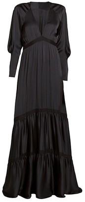 A.L.C. Gwyneth Satin Tiered Maxi Dress