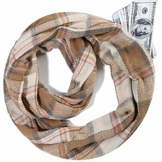 Jfan Infinity Scarf Women Winter Soft Warm Tartan Check Scarves Loop Scarf with Hidden Zipper Pocket Travel Scarf Unisex for Women