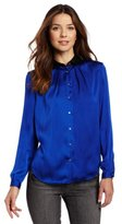 Vince Camuto Women's Contrast Collar Peter Pan Blouse
