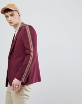 Asos Design DESIGN skinny blazer in burgundy with taping