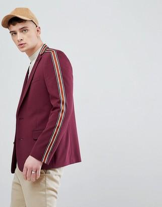 ASOS DESIGN skinny blazer in burgundy with taping